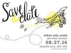 This cute Save the Date card gets your guests in the travel mood. Save the Date cards are especially important for destination weddings, as guests will need to book air travel and hotels.