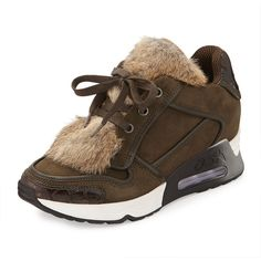 Ash Link Rabbit-Fur Trainer ($295) ❤ liked on Polyvore featuring shoes, sneakers, ash shoes, crocodile sneakers, crocs sneakers, military fashion and ash sneakers