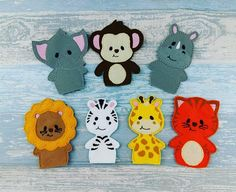 Jungle Animal Finger Puppets with option for a Personalised Felt Bag too. These Finger Puppets are so easy for a child of any age to use, Jungle Animal Set, you will receive 1 of each finger puppet, Lion, Tiger, Rhino, Monkey, Zebra, Giraffe, Elephant What fun to have a selection to