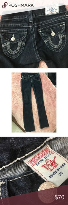 True Religion Straight Leg Jeans Authentic dark denim True Religion jeans! Straight leg fit with beautiful white stitching. Hardly worn, they do not fit me. Styling Tips: Pair with booties for the winter & sandals/wedges for the spring and summer. True Religion Jeans Straight Leg