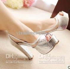 Wholesale Heels Shoes - Buy 2013 Newest Gold Silver Sparkly Wedding Heels Shoes Peep Toe Platform Chunky High Heels, $37.0 | DHgate
