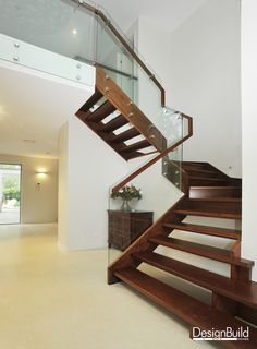 Internal Stairwell with glass balustrades.