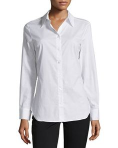 Neiman Marcus Back-Slit Long-Sleeve Blouse, White New offer @@@ Price :$159 Price Sale $79
