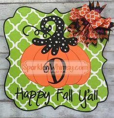Fall Door Hanger: Quatrefoil Pumpkin Happy Fall by SparkledWhimsy