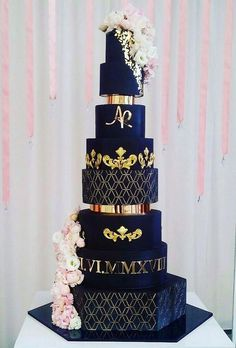 Stylish Black Wedding Cake ★ See more: www.weddingforwar… Stylish Black Wedding Cake ★ See more: www. Luxury Wedding Cake, Black Wedding Cakes, Elegant Wedding Cakes, Beautiful Wedding Cakes, Gorgeous Cakes, Wedding Cake Designs, Pretty Cakes, Wedding Cake Toppers, Dream Wedding