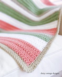 Quick and Easy Crochet Pattern - Easy Crochet Blanket with Texture - Daisy Cottage Designs - - Use this quick and easy crochet pattern to create a beautiful stripe crochet blanket. Make it in any size and give it as a wonderful crochet gift. Crochet Blanket Tutorial, Crochet Blanket Border, Modern Crochet Blanket, Crochet Throw Pattern, Striped Crochet Blanket, Crochet Stitches For Blankets, Afghan Crochet Patterns, Chevron Blanket, Needlepoint Stitches