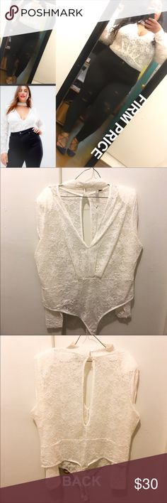 Sexy Lace Body Suit w Choker ✅BUNDLE DISCOUNT🚫NO LOWEST🚫NO TRADES.  Retails $60.  Material is 91% Polyamide & 9% Elastane (plenty stretch).  MODELING MY OWN. COLOR is a beautiful off white. Feels amazing on the body, looks amazing as well.  Beautiful for date night or even wear by itself as on a special night.  Questions welcomed. ASOS Curve Tops Blouses
