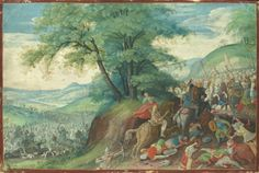 """JACOB SAVERY I ( Kortrijk 1565  c. - Amsterdam 1603). THE BATTLE BETWEEN THE ISRAELITES AND THE HORDES OF AMALEK ( EXODUS XVII; 8-16). gouache heightened with gold, within drawn border, on vellum, loosely laid down on panel. 128 × 194 mm. Signed: """" IS """"  ( monogrammist) in gold lower right.  Sotheby's. New York. Old Masters. 27/01/2016. Lot 23. Estimate: 50.000/ 70.000  $."""