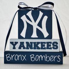 New York Yankees Baseball WoodenBlock Shelf Sitter Stack image 0 Baseball Bases, Better Baseball, Baseball Art, Baseball Stuff, Cheap Baseball Jerseys, Baseball Tee Shirts, My Yankees, New York Yankees Baseball, Yankees Nursery