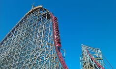 """The Texas Giant. Perhaps the most thrilling experiment ever created. This once wooden coaster was converted to a steel/ wood super hybrid in 2011. Look for """"Little"""" sister Iron Rattler at Fiesta Texas in San Antonio in 2013!"""