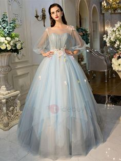 Ball Gown Princess Illusion Neckline Floor Length Tulle Formal Evening Dress  with Crystal Detailing Flower(s) Lace Side Draping by QZ e836dd41c89e