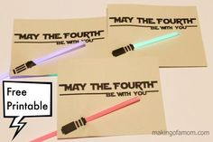 """""""May the Fourth be with You"""" FREE printable card for Star Wars Day"""