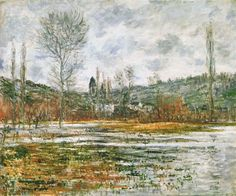 """""""Vetheuil, Prairie Inondee"""" ・ Claude Monet ・ Completion Date: 1881 Style…"""