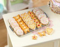 MTO - biscotti di burro freddo su metallo foglio - cinque varietà - il cibo in miniatura in scala 12 di cottura per Dollhouse