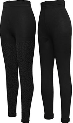 f0519d75eda88 PEDS Womens Soft and Warm Plush Fleece Lined Leggings BlackBlack Cheetah  Pattern XLarge Pack of 2