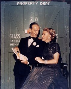 Backstage with Fred Astaire and Ginger Rogers.