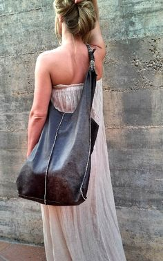 HOBO LEATHER BAG  Oiginal leather Bag Wrapped by OlgaGbarcelona