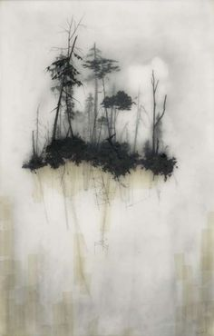 Muted Layered Landscapes  Brooks Shane Salzwedel Creates Art Using Tape, Resin and Graphite