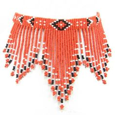 "Eagle Spirit Native American Store - ""Red Beaded Fringe Choker"""