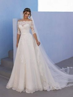 Plus Size Wedding Dresses With Sleeves, Lace Dress With Sleeves, Wedding Dress Sleeves, The Dress, Girl Sleeves, Ballgown Wedding Dress, Long Sleeved Wedding Dresses, Cute Wedding Dress, Wedding Dress Organza