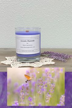 Lavender Chamomile Soy Wax Candle - $25 - 10oz. We make our candles with: Pure Clean Soy Wax Eco Friendly Candle Dye Natural and Synthetic Fragrance Oils Wood Wick with Metal Clip Adhesive Sticker Glass Jar