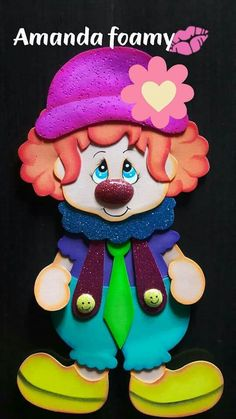 Payaso Foam Crafts, Diy And Crafts, Crafts For Kids, Paper Crafts, Foam Sheet Crafts, Clown Party, Circus Party, Baby Girl Quilts, Girls Quilts