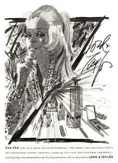 Zsa Zsa Cosmetic & Fragrance Line at Lord & Taylor Ad, 1969 Vintage Makeup Ads, Vintage Beauty, Vintage Ads, Perfume Ad, Vintage Perfume, Beauty Ad, Hair Beauty, Zsa Zsa, Cosmetic Packaging