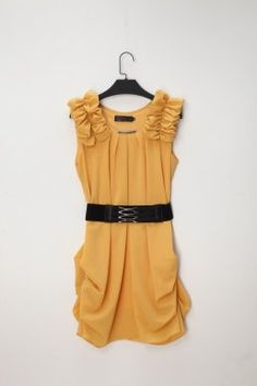 Blooms Waisted Lantern Drapped Dresses Yellow