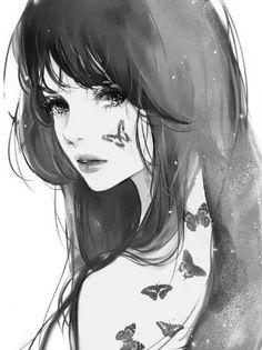 anime, illustration, girl, black, white