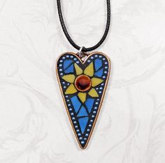 Sunflower necklace; a stained glass mosaic heart pendant, handmade original on Etsy, $40.00