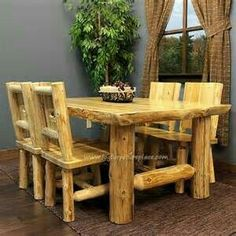 cabin furniture in woodland Rustic Log Furniture, Twig Furniture, Handmade Furniture, Dining Room Furniture, Outdoor Furniture Sets, Western Furniture, Furniture Design, Log Home Interiors, Log Home Decorating