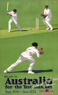 """Absolutely iconic Percy Trompf travel poster for the 1932-33 Ashes (""""Bodyline"""") series"""