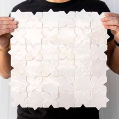 All white ZELLIGE tiles with classic star and cross Moroccan tile pattern. Prepositioned rigid panel for easier installation. Tile reference in colour 1018 from MOSAIC FACTORY Moroccan Tiles, Moroccan Decor, Moroccan Bedroom, Moroccan Lanterns, Moroccan Interiors, Morrocan Floor Tiles, Turkish Tiles, Portuguese Tiles, Küchen Design