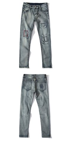 Jeans Men Ripped Silm Hole Denim Straight Strech Rock Jeans Fear of God Trousers Pant Boost Pencil PantsNew Style 2017