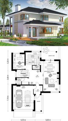This Two Story house design is excellent on an average wide plot. The building's body has an L-shaped form, which makes it look original. Lake House Plans, Garage House Plans, House Floor Plans, Car Garage, 3 Storey House Design, Two Story House Design, 2 Storey House, Modern Floor Plans, Home Design Floor Plans