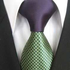 Coachella Men's ties 2013 New design Purple Knot Green Spots Dots Jacquard Necktie custom ties Cravat Formal Neck Tie for Men