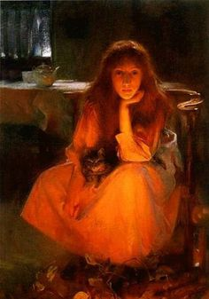 """""""Fire Fancies"""" by Arthur Hacker (1858-1919), English Classicist Painter .... Arthur Hacker was a Member of the Omar Khayyam Society, and this painting of 'Fire Fancies' inspired William Wilsey Martin to write the following Quatrain in the style of Omar Khayyam: """"Weird fire-light dreams are hers. On her young sight Strange faces grow, wrapp'd in the ruddy light, And fade, while through the caves and grots of flame Move changing shapes like phantoms of the night."""" (1891)"""
