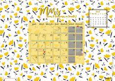 Calendrier Mars 2018 - March calendar - Goodies / Free printable to download on - Fond d'écran ordinateur -  à télécharger sur www.mymyreloo.com