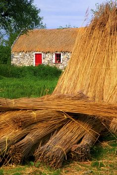 Traditional Thatching, Ireland | Photo by The Irish Image Collection with Pin-It-Button on FineArtAmerica