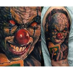 See what we mean? Creepy yet well done. Tattoo by Przemyslaw Aero. #inked #inkedmag #tattoo #clown #idea #creepy #colorful