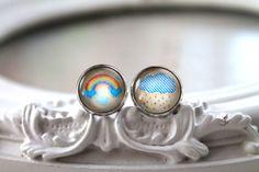 Pretty rainbow and rain cloud stud earrings sweet by DinaFragola