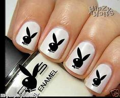 "New ""Playboy Bunny"" 20 Decals Hip & Best Water Slide Nail Art Decals Free"