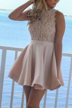 Glimmering Daydream Beige Texture Lace Double Layer Dress