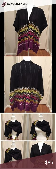 Missoni for Target Ruana Chevron Poncho Shawl Beautiful Missoni for Target open poncho wrap. Purple passion and multi metallic thread/Open cape/shawl. 48% Acrylic, 45% wool 2% rayon/One Size Fits All. Looks brand new! Only wore a few times. Belt sold separately. Missoni for Target Accessories Scarves & Wraps