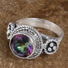 925 SOLID STERLING SILVER Rainbow Mystic EXCLUSIVE RING 4.30g DJR8491 S-6 #Handmade #Ring
