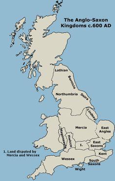 The Anglo-Saxon Kingdoms 600 CE - Mostly still intact to this day (by DNA) Uk History, British History, World History, Family History, Asian History, Tudor History, History Facts, Anglo Saxon History, Ancient History