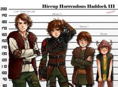 All versions of Hiccup. Book Hiccup looks kind of pathetic next to the other three...