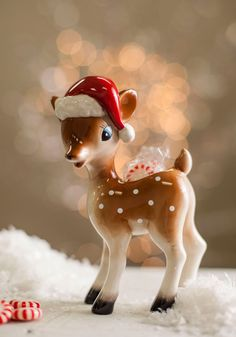 Fawn of the Holidays Candy Dish. Show how sweet you are on the holiday season by serving your favorite treats in this ceramic deer dish! #multi #modcloth
