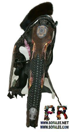 Youth alligator python stingray mink jacket 01