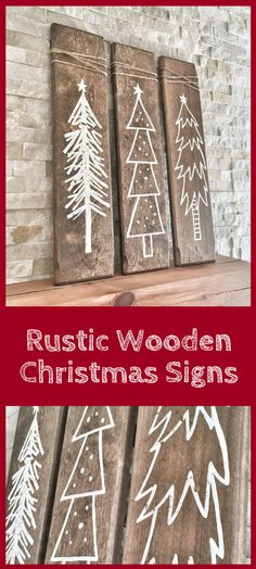 These Rustic Wooden Christmas Trees are a unique piece for your home during the holiday season! This listing is for a set of three hand painted white Christmas trees on walnut stained wood pieces and two pieces are sprinkled with gold glitter for a little